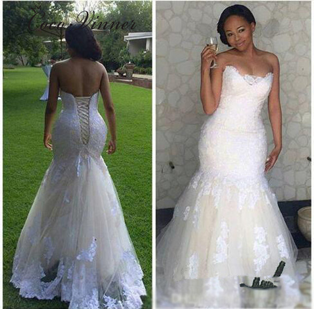 Cheap Mermaid Sweetheart Tulle Lace Up Vintage Lace Wedding Dresses 2021