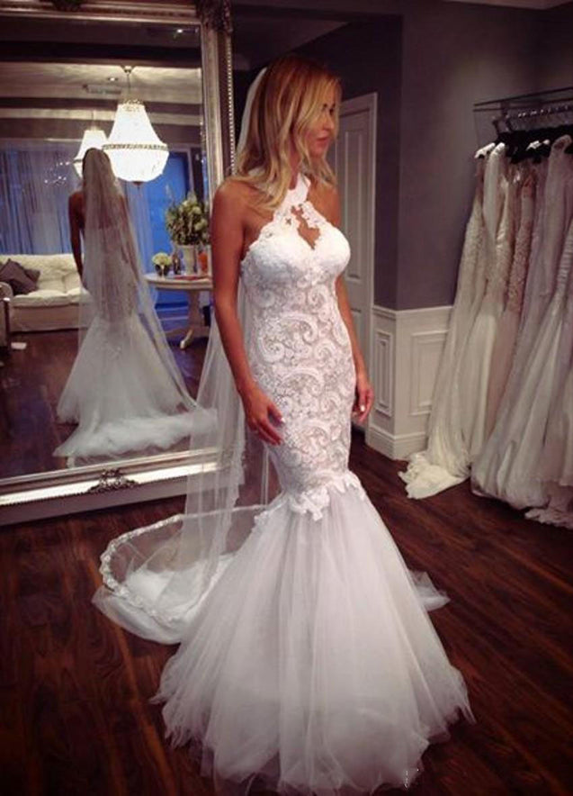 2021 New Arrival Mermaid Tulle High Neck Lace With Tulle Wedding Dresses