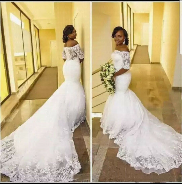 2021 New Arrival Mermaid Long Sleeves Off Shoulder Lace Long Wedding Dresses
