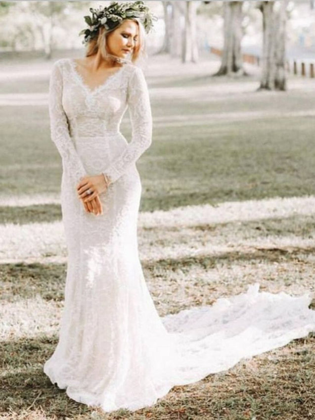 Charming Mermaid Long Sleeves V Neck Lace Long Wedding Dresses 2021