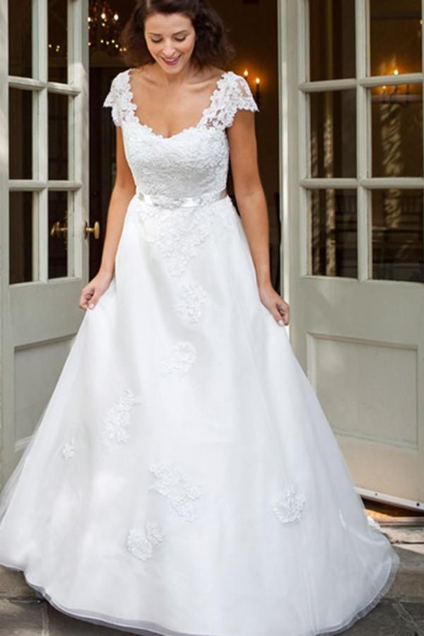 Classic A Line White Capped Sleeves Scoop Vintage Wedding Dresses 2021