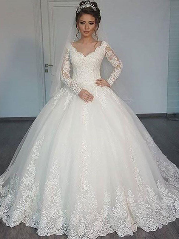 Long Sleeves Sweetheart 2021 Lace Long Train Ball Gown Wedding Dresses