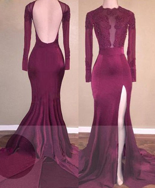 2020 Cheap Mermaid Burgundy Backless Chiffon Prom Dresses