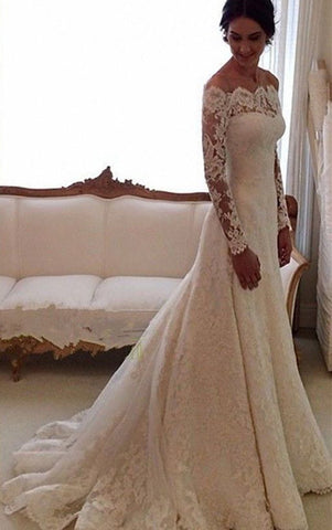 Bateau Ivory A-Line Court Train Lace Long Sleeves Wedding Gowns / Dresses