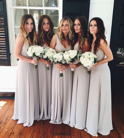 2020 New Arrival A Line Chiffon Silver Floor Length Cheap Long Bridesmaid Dresses / Gowns