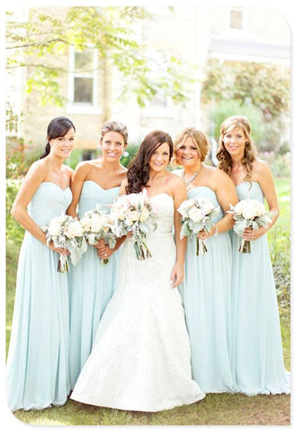 2020 New Arrival A Line Chiffon Mint Sweetheart Long Bridesmaid Dresses / Gowns