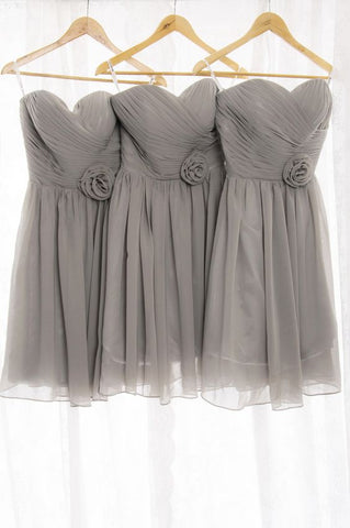 2020 New Arrival A Line Chiffon Knee Length Silver Short Bridesmaid Dresses / Gowns