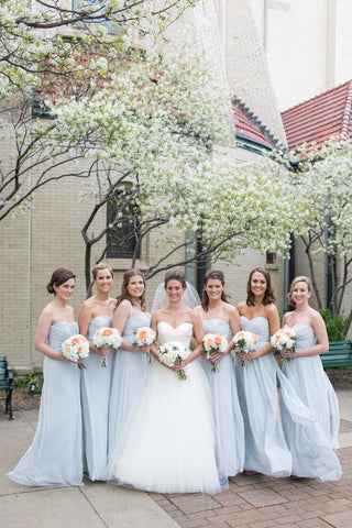 2020 New Arrival A Line Chiffon Light Sky Blue Strapless Long Bridesmaid Dresses / Gowns
