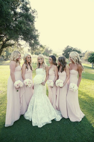 2020 New Arrival A Line Chiffon Pearl Pink Long Bridesmaid Dresses / Gowns