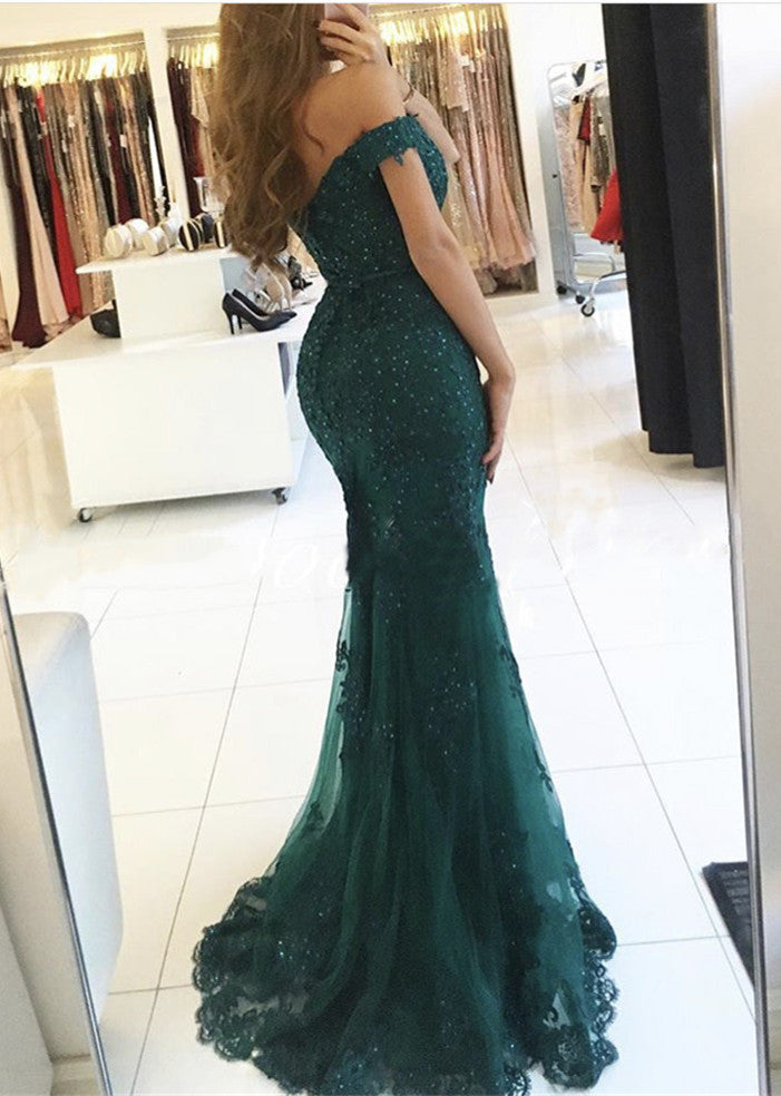2020 Sexy Mermaid/Trumpet Dark Green Off The Shoulder Prom Dresses
