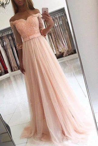 2020 Charming Princess/A-Line Tulle Long Sleeves Off The Shoulder Pink Wedding Dresses