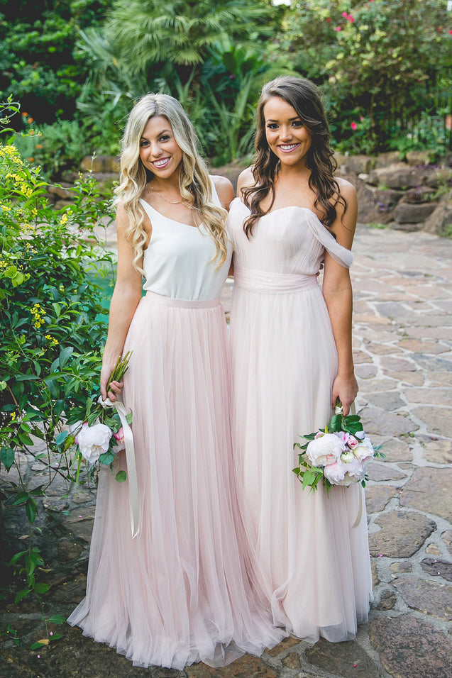 2021 Cheap Tulle A Line Off The Shoulder Bridesmaid Dresses