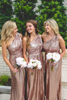 2021 One Shoulder A Line Sequence Bridesmaid Dresses