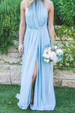 New Arrival A Line Blue Chiffon Floor Length Bridesmaid Dresses