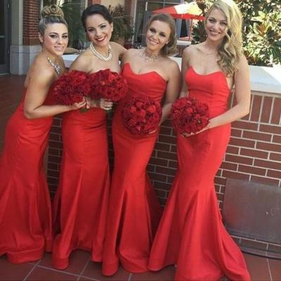 2020 Sexy Mermaid Red Sweetheart Satin Bridesmaid Dresses