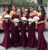 Alluring Mermaid Lace Burgundy Sweetheart Bridesmaid Dresses