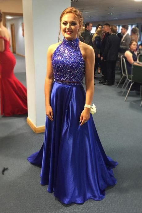 Two Pieces Royal Blue Satin Beaded Prom Dresses