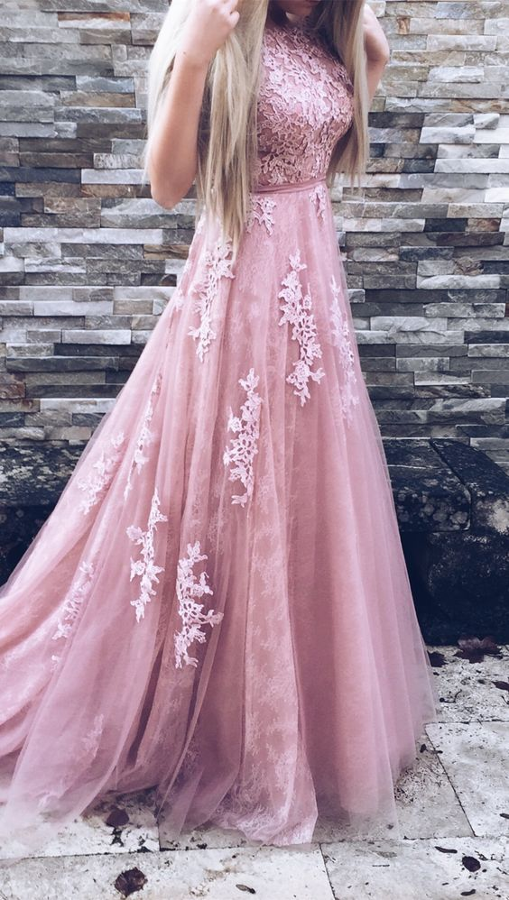 New Arrival Tulle Dusty Rose Prom Dresses With Appliques