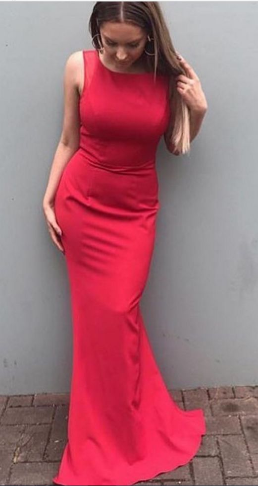 2020 Siren Column/Sheath Red Satin Prom Dresses