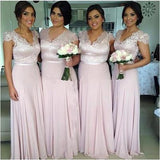 Cheap A Line Blushing Pink Long Capped Sleeves Bridesmaid Dresses / Gowns