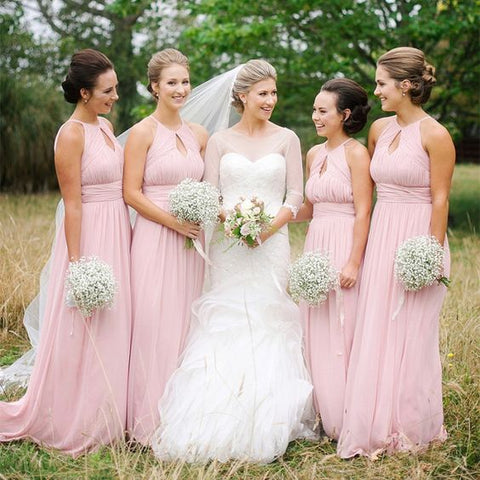 Chiffon A Line 2020 Cheap Pink Bridesmaid Dresses