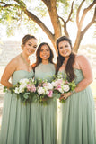 A Line Chiffon Mint Green Floor Length Bridesmaid Dresses