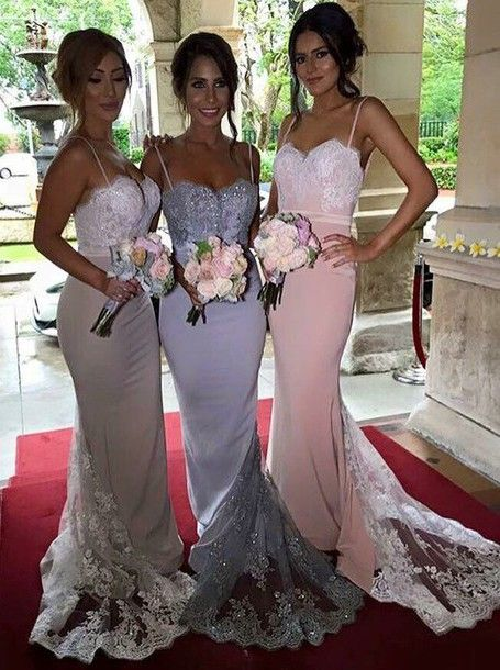 2021 Charming Mermaid Lace Long Train Pearl Pink Spaghetti straps Bridesmaid Dresses / Gowns