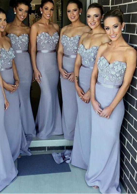 2021 Charming Fitted Lavender Satin Sweetheart With Flowers Long Bridesmaid Dresses / Gowns