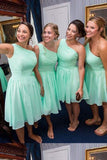 Knee length 2020 One Shoulder Chiffon Mint Green Short Bridesmaid Dresses