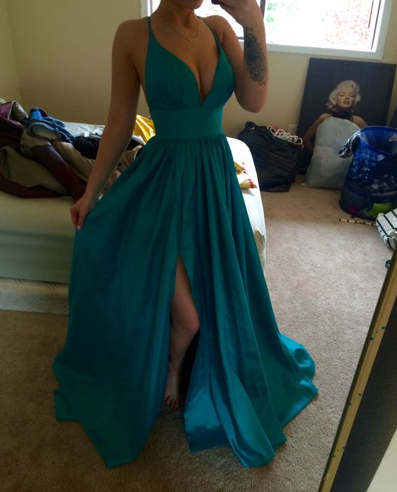2020 Cheap Princess/A-Line Sweetheart Satin Teal Prom Dresses
