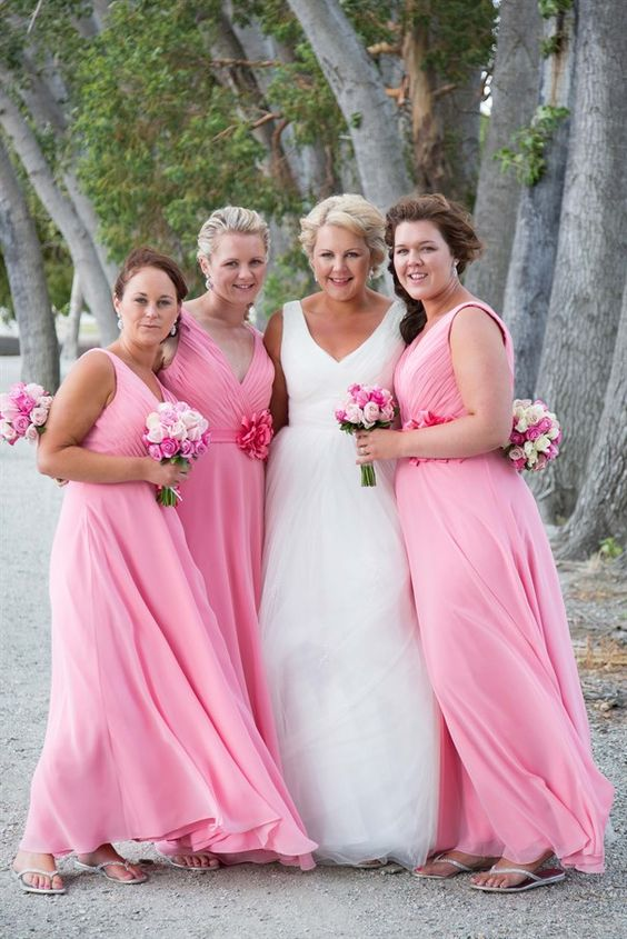 2020 A Line Chiffon Pink Bridesmaid Dresses
