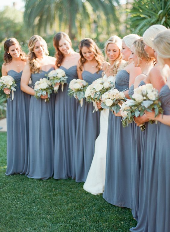 2021 Grey Sweetheart Floor Length pleated Chiffon Bridesmaid Dresses / Gowns