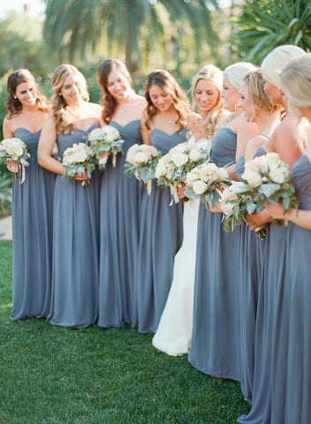 2020 Grey Sweetheart Floor Length pleated Chiffon Bridesmaid Dresses / Gowns