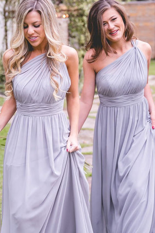 One Shoulder A Line Lavender Chiffon Bridesmaid Dresses