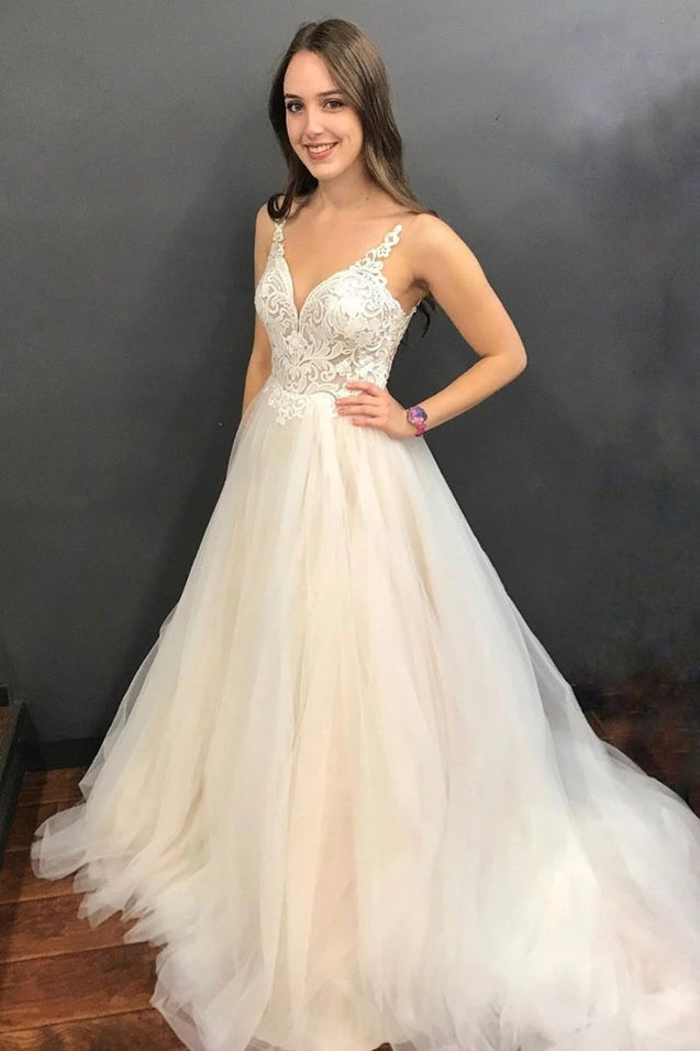 A Line V Neck Backless Lace Light Champagne Wedding Dresses Prom Dresses, Backless Lace Champagne Formal Dresses, Lace Champagne Evening Dresses