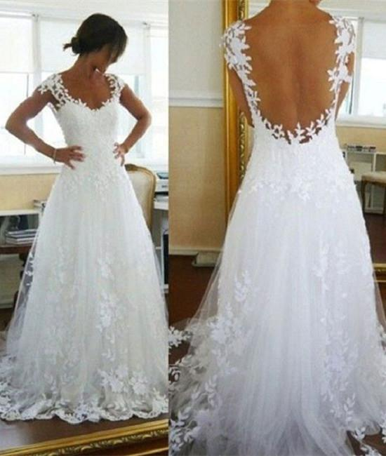 Backless White Lace Sweep Train Tulle Prom Gown, Lace Evening Dresses, Backless Wedding Dresses