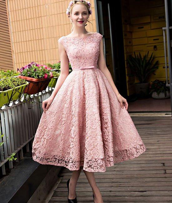 Cute Round-Neck Short Pink Lace Prom Dresses, Pink Lace Short Formal Dresses, Pink Lace Bridesmaid Dresses