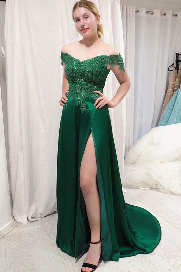 Off Shoulder Lace Top Green Long Prom Dress with Split, Off Shoulder Lace Green Bridesmaid Dress, Off Shoulder Lace Green Formal Graduation Evening Dress