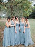 2020 A Line Tulle One Shoulder Blue Bridesmaid Dresses