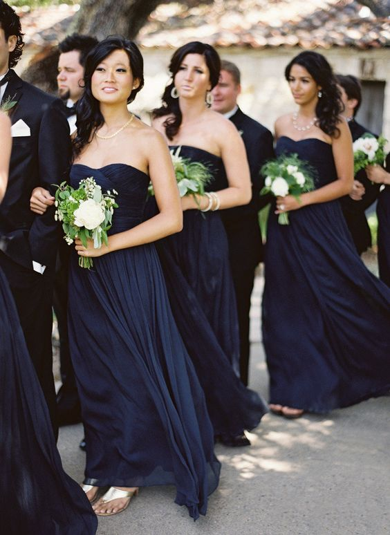 2021 Cheap A Line Dark Navy Chiffon Strapless Long Bridesmaid Dresses / Gowns