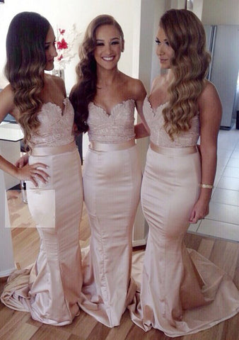 2020 Sexy Sheath/Column Satin Pearl Pink Sweetheart Lace Long Bridesmaid Dresses / Gowns