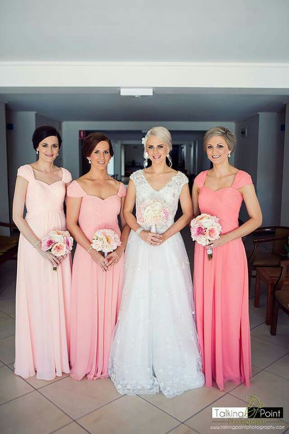 2021 Cheap A Line Water Melon Chiffon With Capped Sleeves Long Bridesmaid Dresses / Gowns
