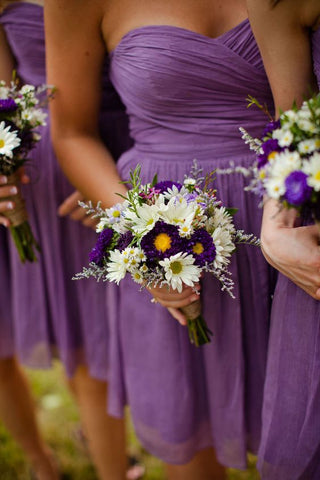 2020 Newly A Line Purple Chiffon Sweetheart Short Bridesmaid Dresses / Gowns