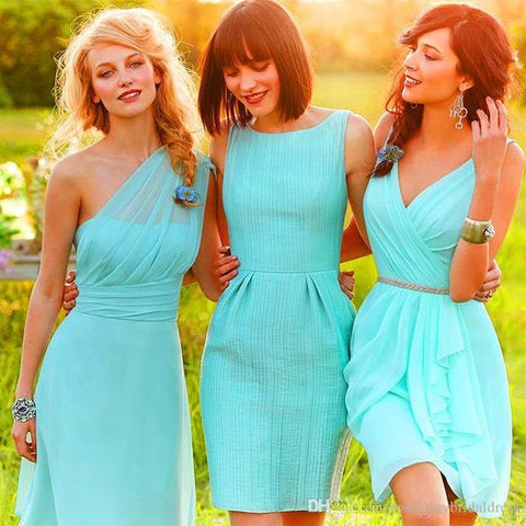 2020 New Arrival A line Turquoise One Shoulder Knee Length Bridesmaid Dresses / Gowns