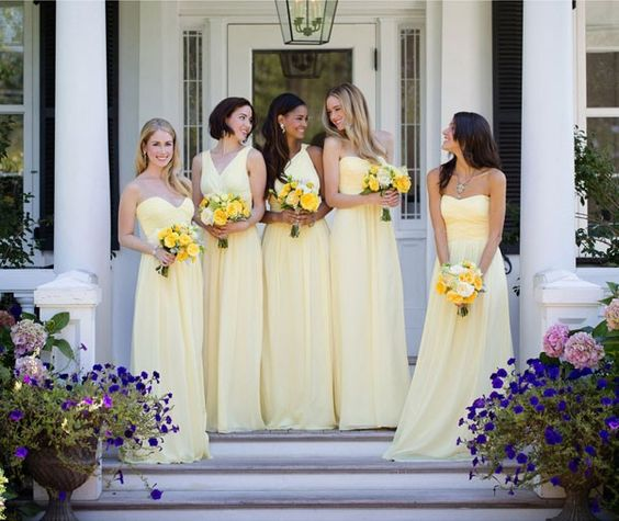 2021 Cheap A Line Daffodil Chiffon Strapless Long Bridesmaid Dresses / Gowns