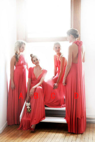 2020 Cheap A Line Chiffon Water Melon One Shoulder Long Bridesmaid Dresses / Gowns
