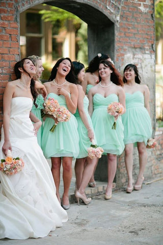 2020 Cheap A Line Mint Sweetheart Knee Length Bridesmaid Dresses / Gowns