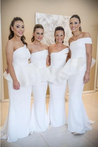 2020 New Arrival White Mermaid One Shoulder Satin Long Bridesmaid Dresses / Gowns