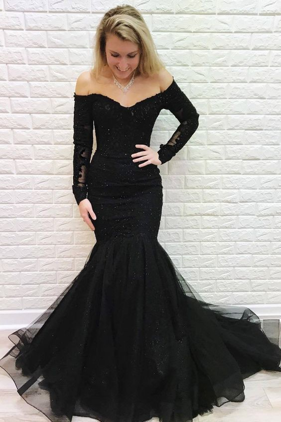 Mermaid Off the Shoulder Long Sleeves Lace Prom Dress with Beads