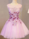 Lovely Scoop Homecoming Dress, A-Line Cute Lace Short Prom Dresses